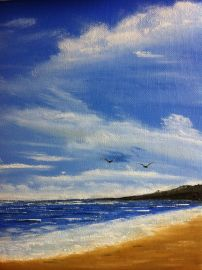 """'Breezy Shore' 12x10"""" oil on canvas paper"""