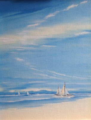"'Tranquil Sailing' 12x10"" oil on canvas paper"